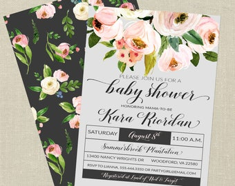 Floral Baby Shower Invitation--Watercolor Flowers, Bouquet, Elegant, Pink, Gray, Printable Invitation, Digital File, Girl Baby Shower