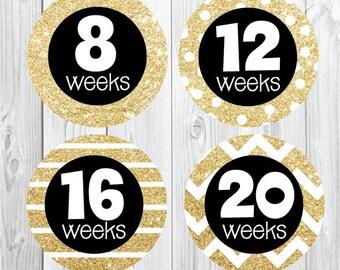 Maternity Stickers Gold Glitter, Preppy, Trendy, Glitter Pregnancy Stickers, Weekly Pregnancy Stickers, Baby Bump, Belly Bump, Gold Black