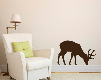 Grazing Stag Wall Sticker - Stag Wall Decal