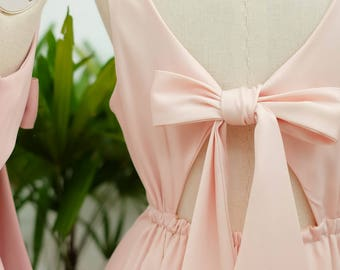Pink Bridesmaid dress blush pink prom dress pink satin party dress short bridesmaid dress pink prom dress short wedding guest dress