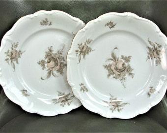 """Two 1940's 10"""" Haviland Dinner Plate Gold SEPIA ROSE"""