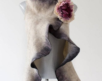 Felted vest Double Sided Vest White Waistcoat White Vest boho vest romantic vest, felt vest, felted vest romantic
