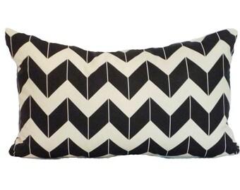 clearance discontinued 50 % off  huge sale chevron pillow cover cream black dimensional custom linen throw home decor zig zag