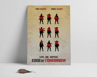 Movie poster print,Edge of Tomorrow-alternative movie poster printable,Mnimal film art,Printable files,Instant Download,Printables,Wall Art