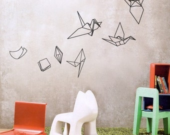 Paper Evolving into Origami Bird - Pop Wall Sticker Wall decal Art