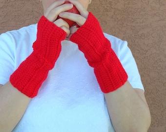 Red Fingerless Gloves - Crochet Fingerless Gloves, Wrist Warmers, Arm Warmers, Fingerless Mittens, Mitts - Ready To Ship
