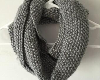 Hand Knit Infinity Scarf - Grey