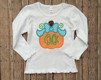 Pumpkin with Bow Appliqué Shirt