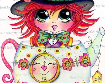 INSTANT DOWNLOAD Digital Digi Stamps Big Eye Big Head Dolls Img170 Alice In The Looking Glass Bestie By Sherri Baldy