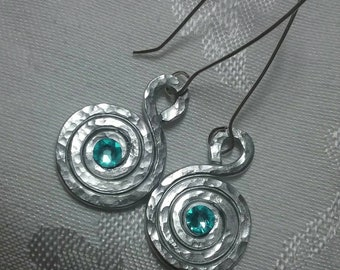 Hammered Aluminum Spiral Earrings with Swarovski Crystals and Sterling Silver