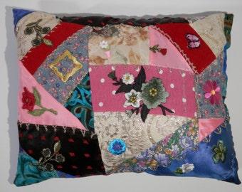 10 x13 Novelty Pillow Hand Design Victorian Crazy Quilt Style Boudoir Multicolor Flower Embroidery Applique Bohemian Hippie Floral Patchwork