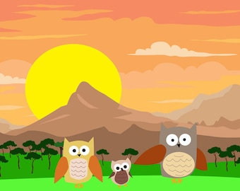 Owls art print-Owls illustration poster-Nursery room decor-Kids deco room-Colourful poster-Mountains print-Decorative Print-Cool Large Print