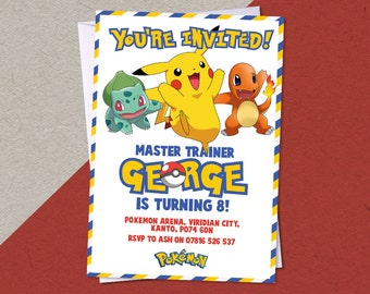 12 Printed Pokemon Personalised Birthday Party A6 Invitations with/without white envelopes
