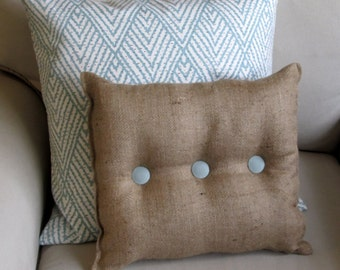 Burlap Pillow with spa blue organic cotton duck buttons