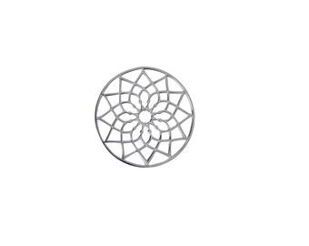 Silver & Gold FLOWER MANDALA Pendant/Interpiece,925 Sterling Silver Pendant,Sacred Jewelry,Minimalist Jewelry,Geometric Pendant,Gold Mandala
