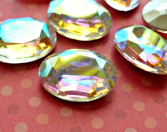 Two 18x13mm Crystal Clear with Aurora Borealis Oval Glass Rhinestone Jewels (2-35-2)