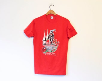 Vintage Red 1990 Kentucky Derby Horse T Shirt