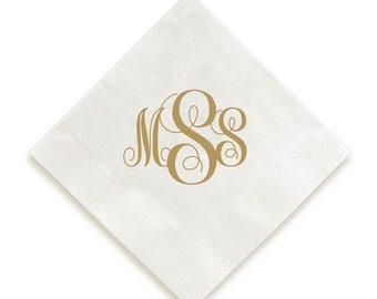 Personalized Napkins- Interlocking Monogram, Preppy Monogram, Foil napkins, wedding napkins, monogram drink napkins, customized monogram