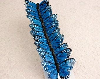 Feather Butterflies 12 Monarch Blue Bird Feather Butterflies 3 Inch Wingspan Size / Millinery Supplies / Costume / Bridal Bouquet