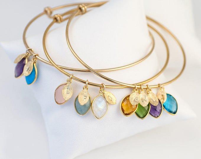 Featured listing image: Custom Birthstone Charm Bracelet For Mom, Grandmother Gratitude, Mothers Bracelet, Family Tree Bracelet,Personalized Bangle, Unique