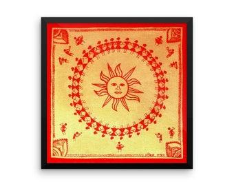Warli Sun Art Print, FRAMED Art Print, Matte Paper Poster, Indian Tribal Painting, Primitive Painting Gold Painting, Folk Art Painting