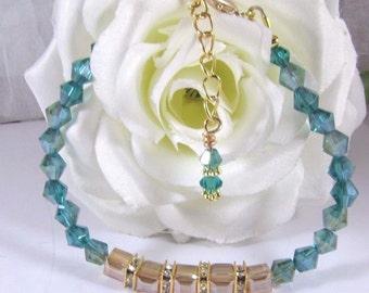 Emerald Green and Gold Champagne Cube Swarovski Bead Bracelet
