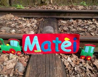 Train Birthday Banner, Transportation Theme, Train Baby Shower Boy Room Sign, Personalized Banner with Locomotive and Wagon, Gift for Boy