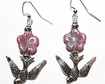 Swallow Earrings With Flower