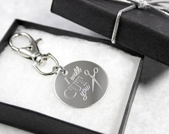 Hairdresser Keychain - Engraved Keychain - Hairdresser Gift - Hairstylist Gift - Personalized Keychain - Scissors Keychain - Gift For Women