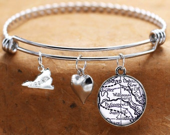 Map Charm Bracelet Williamsburg Virginia Antique Map State VA Bangle Cuff Bracelet Vintage Map Jewelry Stainless Steel Bracelet