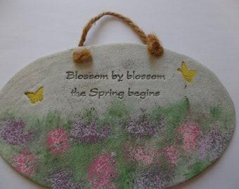 Handmade ceramic plack. Spring.