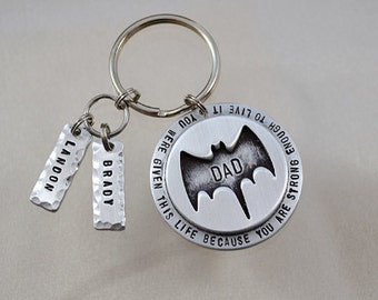 Father's Day Gift - Personalized Keychain - Batman Keychain - Personalized Superhero Key Chain - Custom Keychain - Gifts For Her - For Him