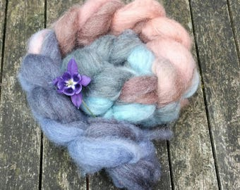 Hand dyed spinning fibre, Oatmeal Bluefaced Leicester, 110g, BFL combed tops, gradient dyed spinning fibre