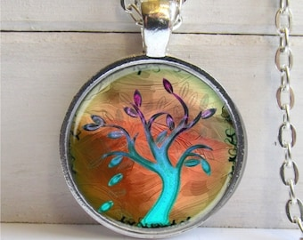 Tree Pendant - Whimsical Tree Necklace Wearable Art Charm