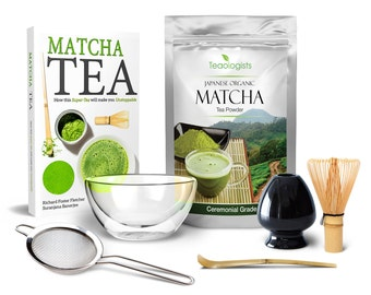 Matcha Tea & Teaware Gift Set by Teaologists: Includes 40g Organic Matcha Matcha Bowl Whisk Whisk Holder Ladle Sifter Book - Unique Present