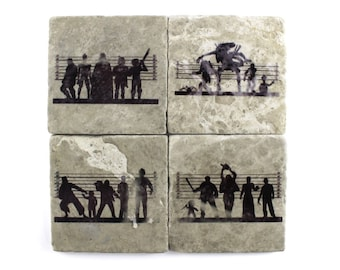 Various: Suspects Tumbled Marble Tile Drink Coaster Set of 4