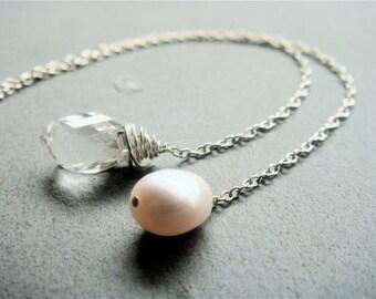 Double Drop Lariat Necklace No. 3- pearl and crystal quartz