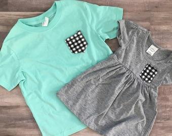 Baby, Toddler, Youth,  T-shirts, Matching T-shirts, Pocket Tshirt Set
