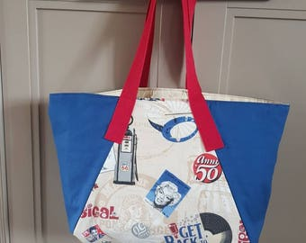 Large lined tote with rock & roll themed centre panel