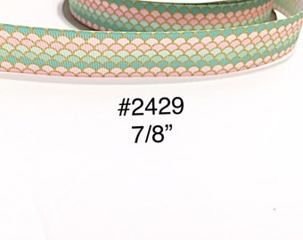 "3 or 5 yard - 7/8"" Sea Creature Mermaid or Fish Scale Grosgrain Ribbon For Hair Bow Craft Supply"