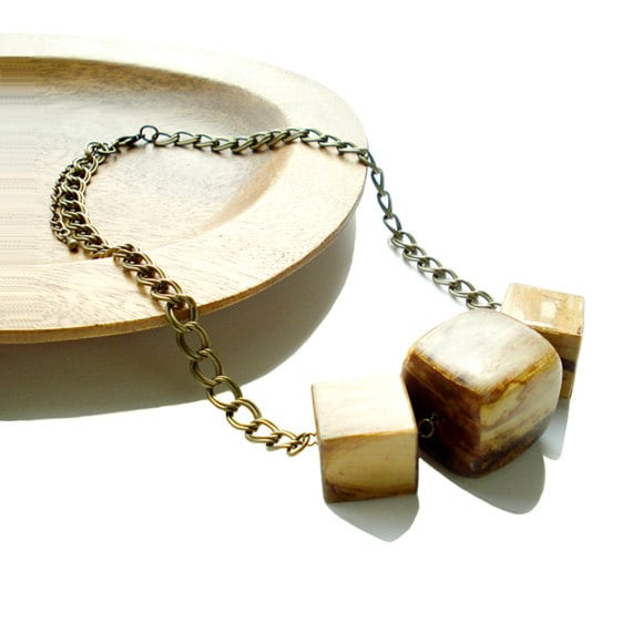 Natural Wooden Cube Necklace