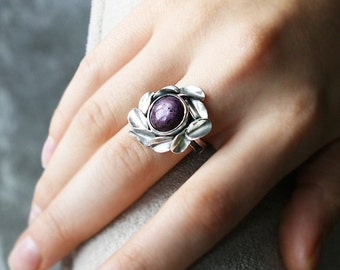 Ruby Ring Burmese Star Ruby Petals Ring Sterling Silver Art Jewelry