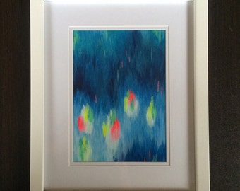 Parrots - Original Acrylic Abstract Painting on canvas framed, Abstract Art, Modern Art, Abstract Painting, Wall Art