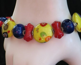 Yellow Bracelet, Red Bracelet, Cobalt Bracelet, Blue Bracelet, Color Colour Blast Yellow Red Cobalt Blue Glass Bracelet