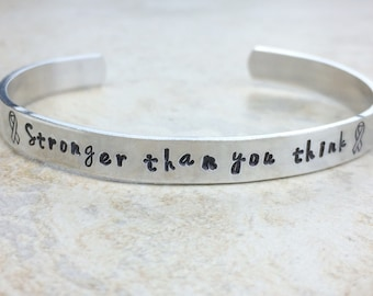 One cuff bracelet /  Inspirational gift / Stronger than you think