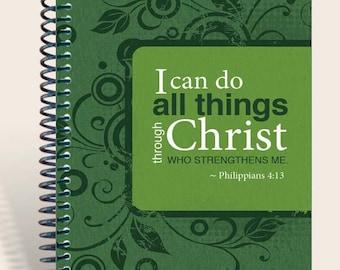 Personalized Gift / Personalized Prayer Journal - Phil 4:13 Dark Green