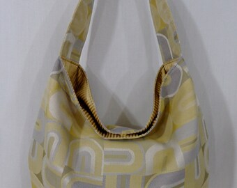 Extra Large Slouchy BAG, Shoulder Purse, Slouch, Hobo, Diaper BAG, Work Purse, Sling BAG, Shopping Bag, Yellow and Grey