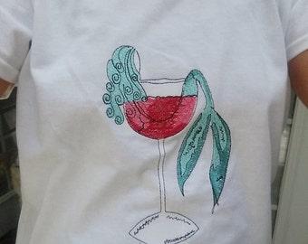Mermaid Shirt - Embroidered Mermaid in Wine Glass or Mermaid in Margarita Glass - Beachwear - Ladies Wear