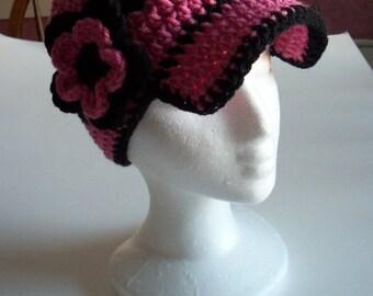Newsboy Brim hat for Children In Pink and Black
