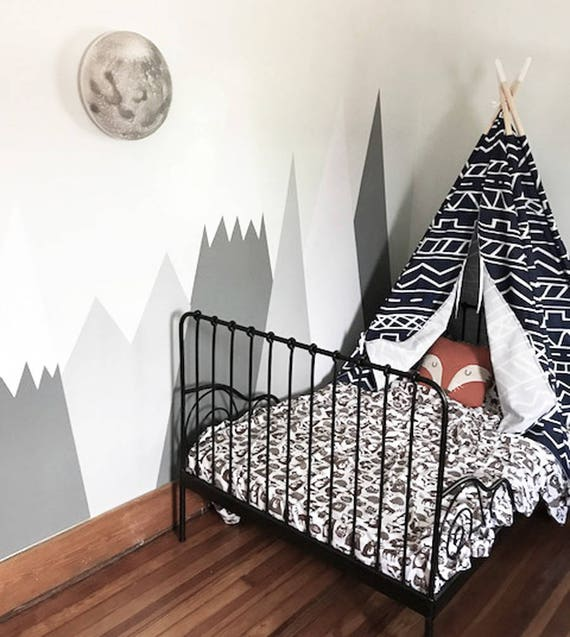 Mountains Wall Decal Nursery Wall Protection Baby Wall Decals Woodland Custom Personalized Washable Headboard Sticker Decor #mountains002